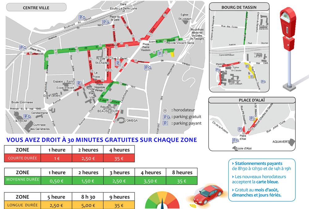 Plan des parkings et tarifs